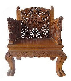 Chinese Hardwood Chair with Elaborate Carvings