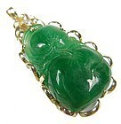 Chinese Apple Green Jadeite Pendant with 18K Gold