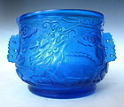 Vintage Blue Fu Dog Peking Glass Bowl