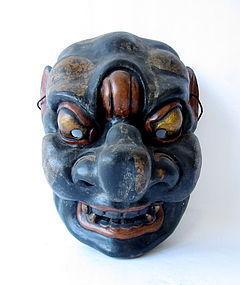 Japanese Antique Gagaku Style Demon Mask