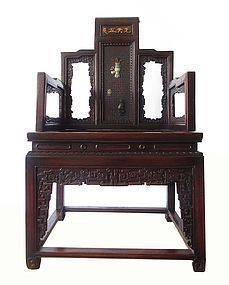 Antique Chinese Hardwood Chair with Jade Inlay
