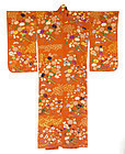 Antique Japanese Embroidered Chirimen Silk Kimono