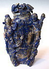 Antique Chinese Carved Lapis Bottle