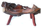 Japanese Natural Burl Wood Seat