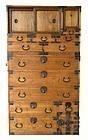 Antique Japanese Two-Section Clothing Tansu