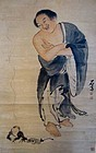 Antique Chinese Lui Hai and Money Frog Scroll