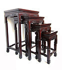 Antique Chinese Solid Rosewood Nesting Tables