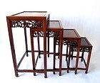 Antique Chinese Rosewood Carved Nesting Tables