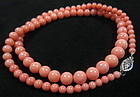 Chinese Pink Coral Bead Necklace