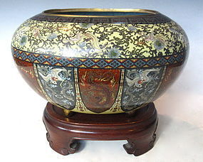 Antique Japanese Cloisonne Oval Container