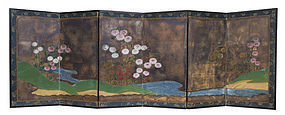Japanese Small Byobu Screen Painting of Flowers
