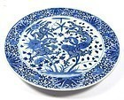 Antique Chinese Blue and White Porcelain Dragon Plate