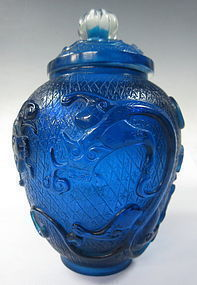 Chinese Blue Peking Glass Jar