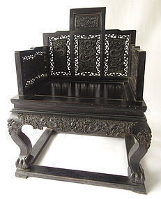 Antique Chinese Hardwood Imperial Chair w/ Dragons