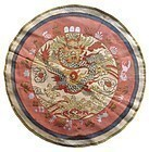 Chinese Round Woven Textile with Dragon