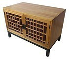 Japanese Keyaki Lattice Tansu