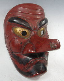 Antique Japanese Red Tengu Theatre Mask