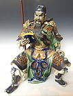 Chinese Shi-Wan Ware Porcelain Doll of Guan Gong