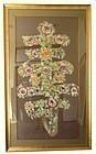 Chinese Framed Woven Silk Flower Shou Tapestry