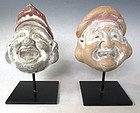 Antique Japanese Pair of Ceramic Lucky God Masks