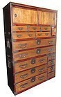 Antique Japanese 3-Section Tansu w/ Lacquer Frame