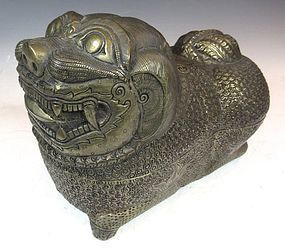Indonesian Silver Fu Dog Container