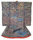 Japanese Antique Wedding Kimono with Bridge and Plum Trees