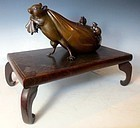 Antique Japanese Bronze Mouse Running Off with Daikoku Money Bag
