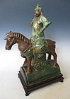 Chinese  Pottery Roof Tile of Horse and Rider