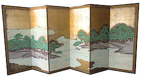 19th Century 6-Panel Japanese Screen with Ocean & Pine Trees