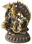 Tibetan Gilt Bronze Statue of Kubera on Beast