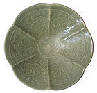 Chinese Song Dynasty Foliate Celadon Bowl with Lotus Motif