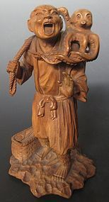 Antique Japanese Carving of Fisherman and Octopus