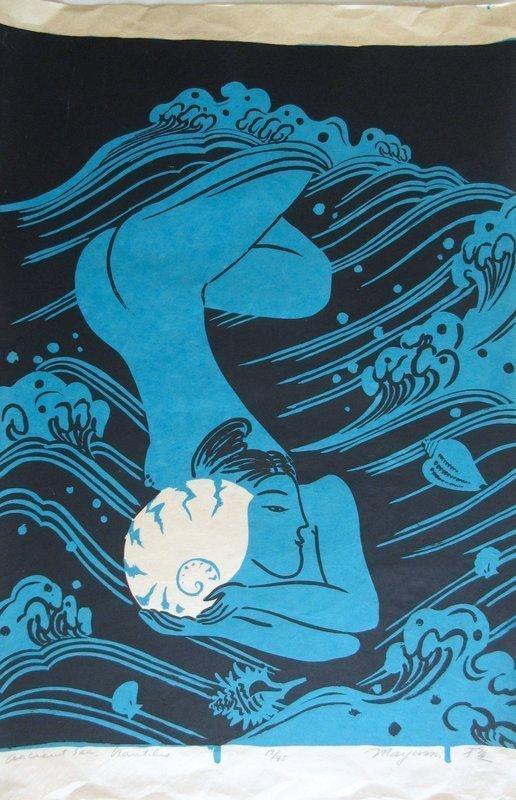 Japanese Woodblock Print by Mayumi Oda