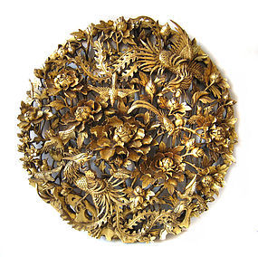 Chinese Large Gold Lacquer Round Carved Wall Hanging
