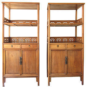 Antique Chinese Pair of Hardwood Display Cabinets
