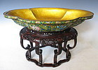 Chinese Antique Large Enamel Bowl and Carved Hardwood Stand
