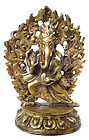 Tibetan Antique Gilt Bronze Dancing Ganesha