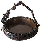Stunning Antique Japanese Ikebana Basket with Bronze Lining
