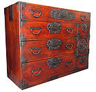 Japanese Antique Sendai Isho Tansu with Peonies