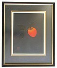 Japanese Framed Persimmon Print by Haku Maki