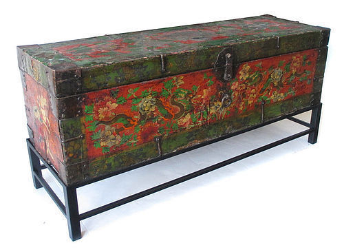 Antique Tibetan Lacquer Trunk with Dragons