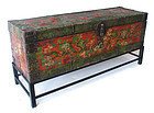 True Original Antique Tibetan Lacquer Trunk with Dragons