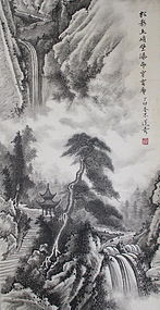 Chinese Mountain Landscape Scroll Painting by Zhao Tsungwu