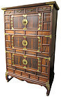Large Antique Korean Persimmon Chest