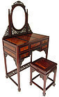 Antique Chinese Hardwood Vanity Burl Desk with Stool