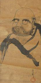 Antique Japanese Bodhidharma  Painting