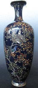 Antique Japanese Cloisonne Vase w/ Birds