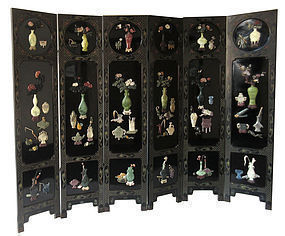 Chinese Six Panel Lacquer Screen w/ Hardstone Inlay
