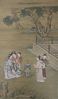 Antique Chinese Court Scene Scroll signed Qiu Ying